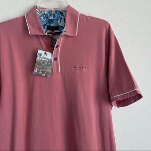 Ted Baker Golf Peach Short Sleeve Stretch Polo